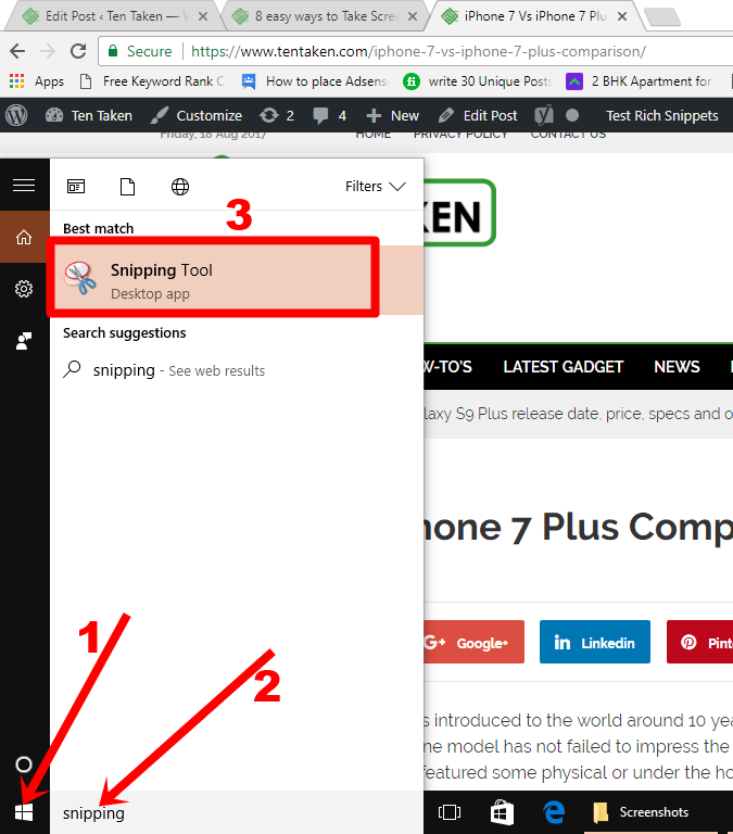 Screenshot with Snipping Tool