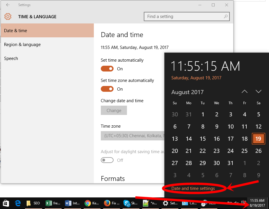 Time and date on windows