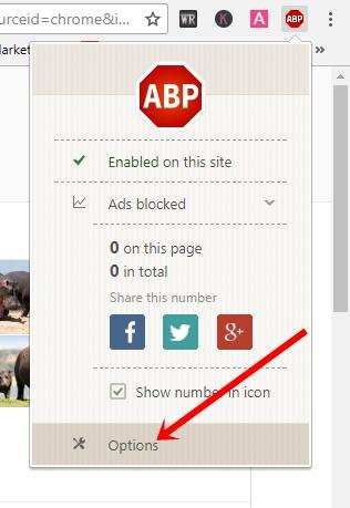AdBlock Pro settings