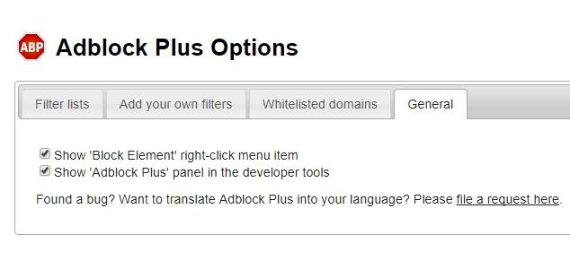 AdBock General settings