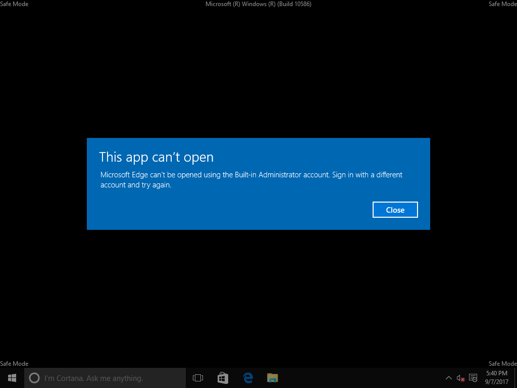 Booted windows 10 in safe mode