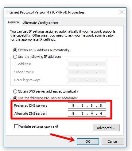 Change preferred & Alternate DNS server