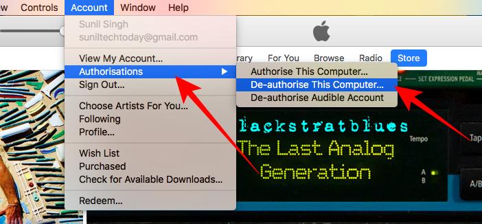 De-authorize a computer on iTunes