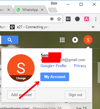 Go to my account in Gmail