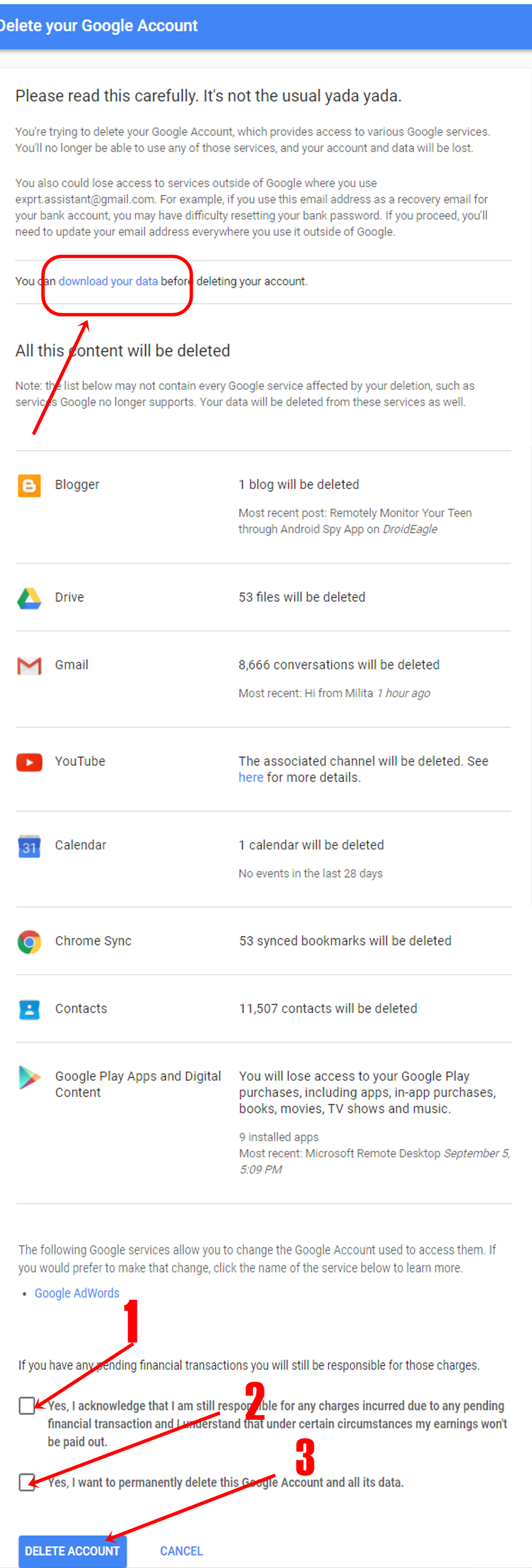 Last step to delete gmail account