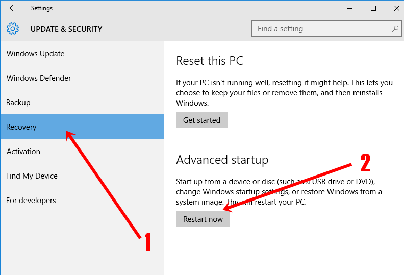 Updates and security in Windows 10