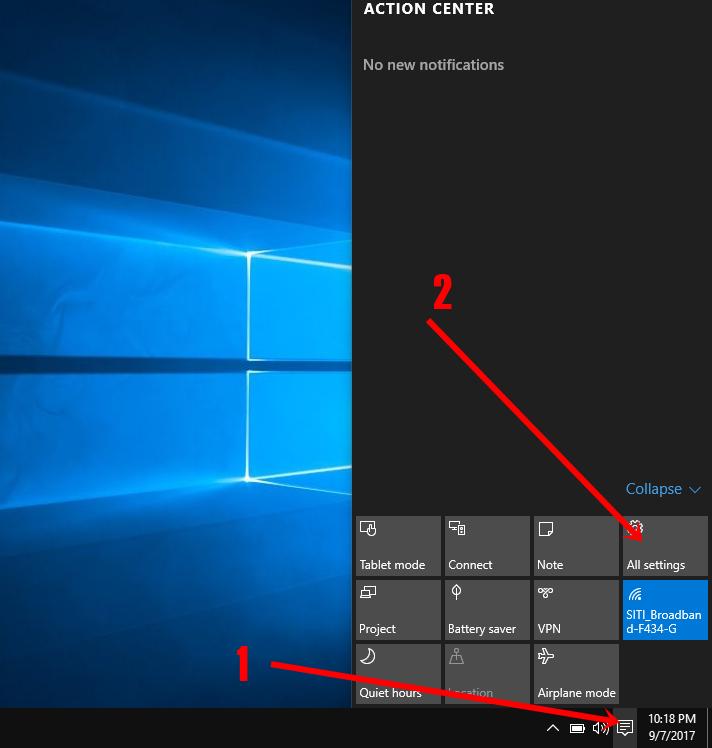 Windows 10's settings