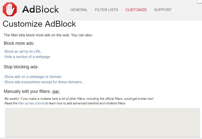 customise adblock