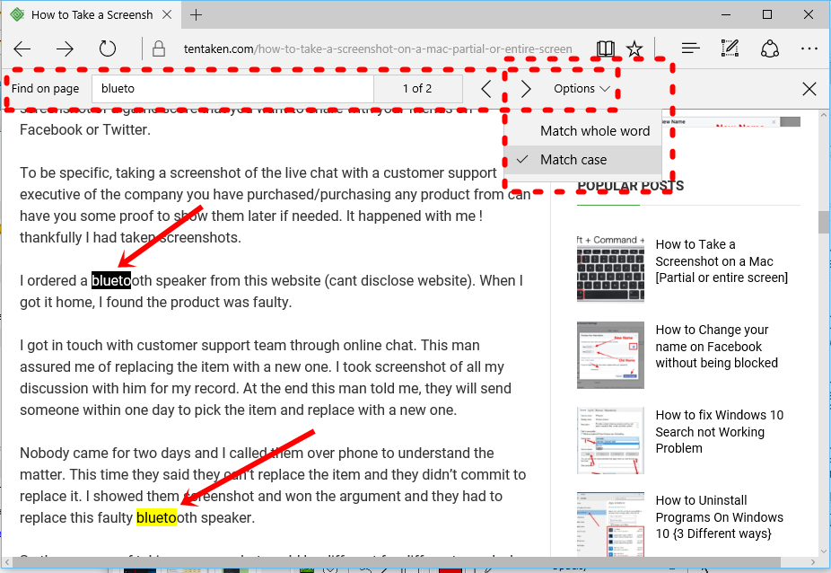 How to search for a Word on a web page on Microsoft Edge