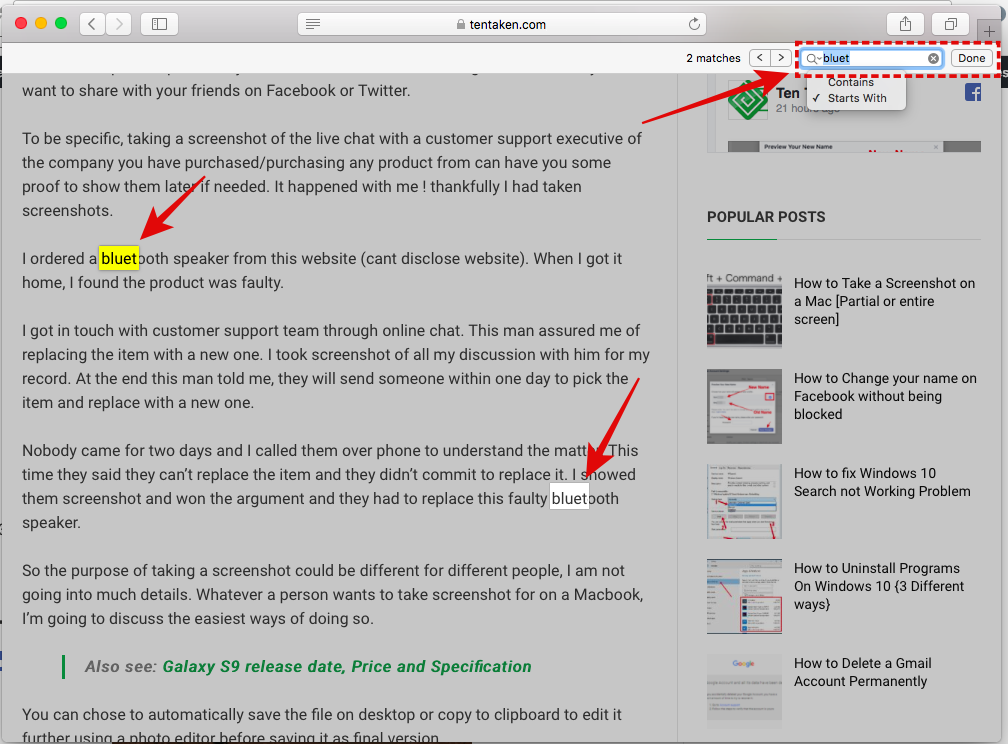 Search a word on a web page in Safari