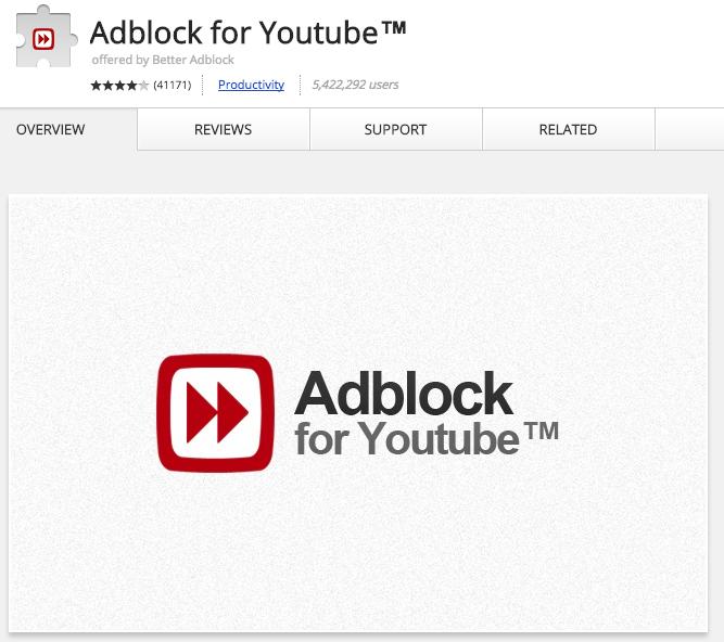 Adblock for youtube