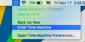 Time Machine Shortcut